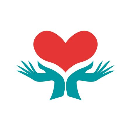 Vector logo hands and heart, cardiologist. Service and assistance. Donation, blood withdrawal and transfusion