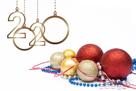 Happy new year 2020. Christmas greeting card. Isolated balls and ornament on white background and copy space