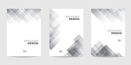 Design template for Brochure, Flyer or Depliant for business purposes. Gray vector geometric abstract background with diagonal squares