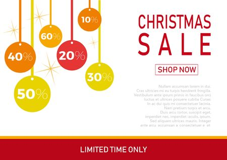 Christmas holiday sale on flat background with balls. Limited time only. Template for a banner, shopping, discount. Vector illustration for your design