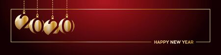 2020 Happy New Year header on red background. Golden text with frame, banner