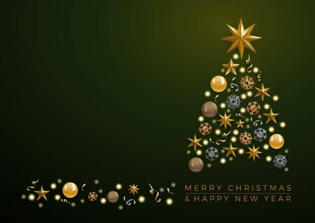 Vector Abstract cover Golden Christmas Tree, with text on green background Stock fotó