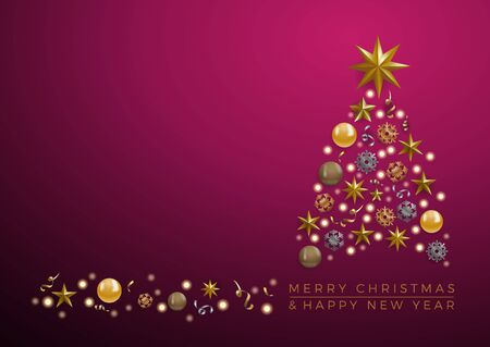 Vector Abstract cover Golden Christmas Tree, with text on purple background