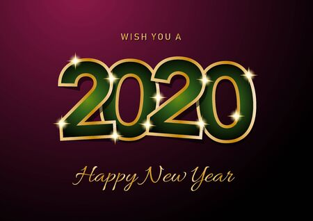 2020 Happy New Year celebration card for Christmas greetings or seasonal flyers. Vector golden text on purple background