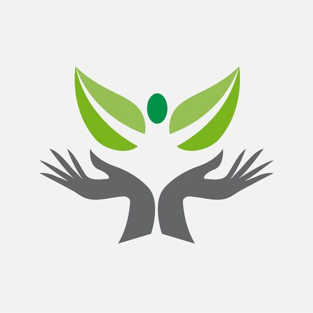 Vector logo green friendship, hands with people on leaf shape. Environment service and assistance