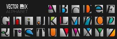 set of font and alphabet, vector of modern abstract letters in classical style on black background