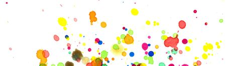 Colored splashes in abstract shape, painting background, banner and header