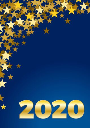 2020 Happy New Year celebrate vertical card with holiday greetings and golden stars on blue background