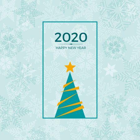 2020 Happy New Year. greeting, invitation or menu cover. vector illustration on blue background Illusztráció