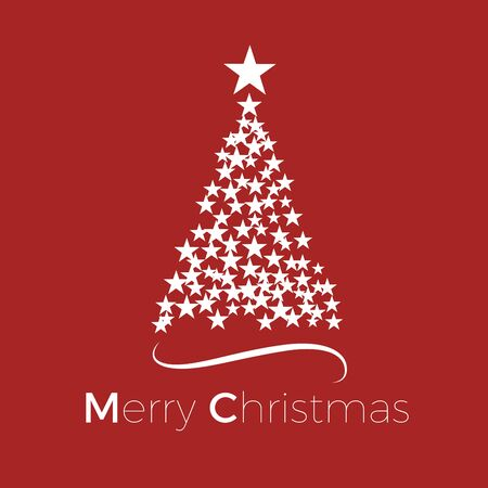 Vector Abstract cover Christmas Tree, with text on red background