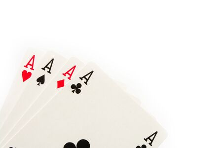 The combination of playing cards poker casino. Four aces on white background