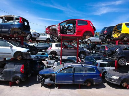Cars in junkyard, pile for recycling.Car recycling Stock fotó