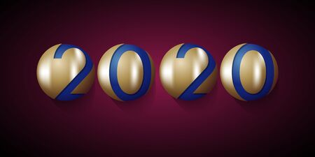 Abstract new year 2020, vector creative text and golden balls on purple background