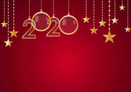 2020 Happy New Year celebrate card with holiday greetings, vector golden hanging text, red background