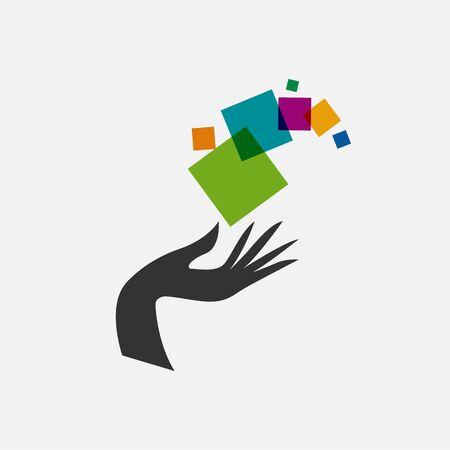 Vector logo Digital Service and Assistance. Hand and pixels Illusztráció