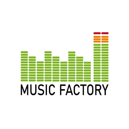 Vector logo music industry. Graphic equalizer in the shape of a factory Illusztráció