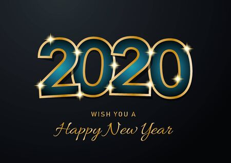 2020 Happy New Year celebration card for Christmas greetings or seasonal flyers. Vector golden text on gray background