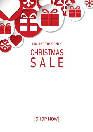 Christmas holiday sale on flat background. Limited time only. Template for a banner, shopping, discount. Vector illustration for your design Illusztráció