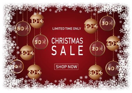 Christmas holiday sale on red background with snow. Limited time only. Template for a banner, shopping, discount. Vector illustration for your design