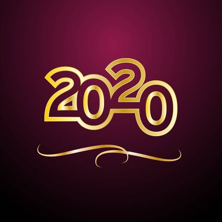 Vector Abstract cover Golden text 2020 on purple background