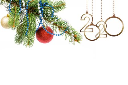new year 2020. Christmas greeting card. Isolated tree with balls and ornament on white background and copy space