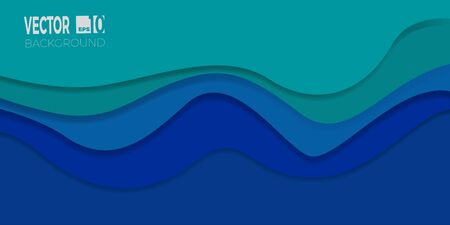 3D abstract background with paper cut shapes. Layered tunnel wave banner with shadows. Vector design for business presentations, flyers, posters