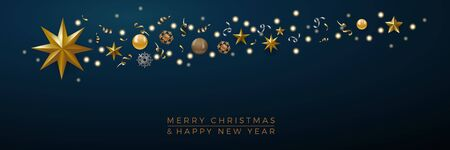 Christmas banner, decorations with abstract comet and star on blue background