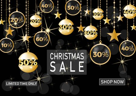 Christmas holiday sale on black background with star. Limited time only. Template for a banner, shopping, discount. Vector illustration for your design Illusztráció