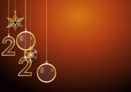 2020 Happy New Year celebrate card with holiday greetings, vector golden hanging text, orange background