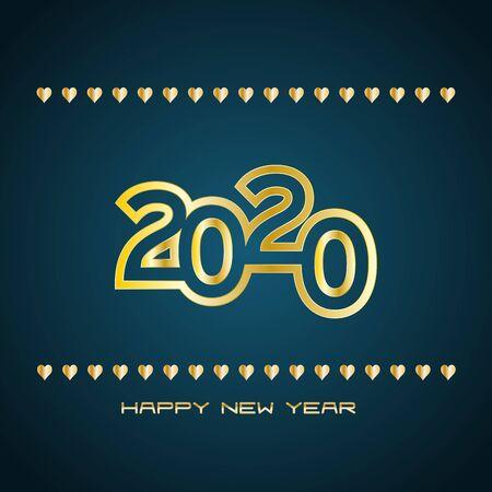 2020 Happy New Year, Background Greetings Card Design Element on blue background Illusztráció