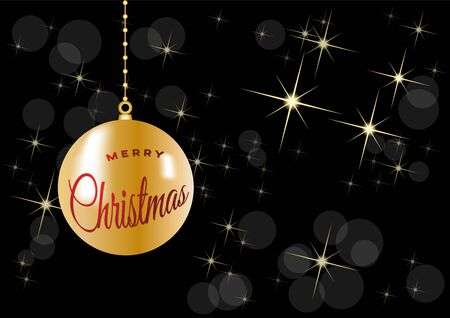 Christmas tree, vector postcard or greeting on black background. Gold curls, wealth and prosperity concept.