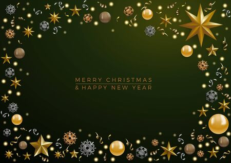 Christmas decorations with copy space in a frame and text on green background