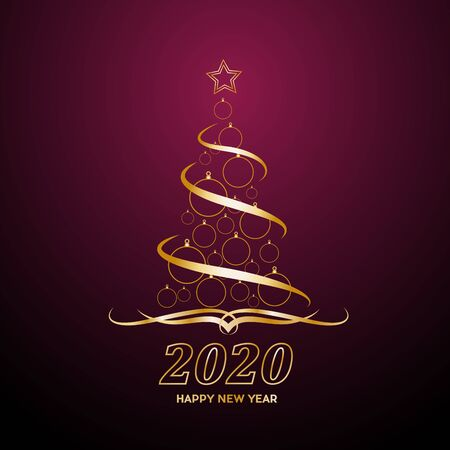 Vector Abstract cover Golden Christmas Tree, with text 2020 Happy New Year on purple background Illusztráció