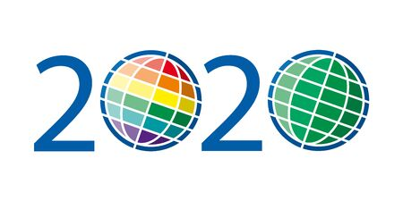 new year 2020 creative colorful text with two globe, green and rainbow