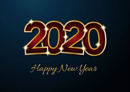 2020 Happy New Year celebration card for Christmas greetings or seasonal flyers. Vector golden text on blue background Illusztráció