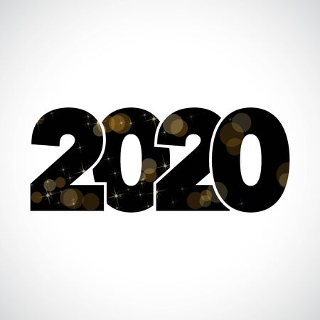 2020, happy new year. Vector creative number with black sky and golden stars