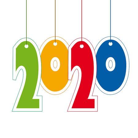 Creative text 2020 of cardboard hanging