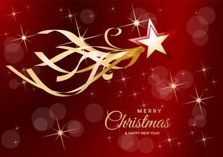 Christmas postcard, decorations and background with abstract comet and star on red background Illusztráció