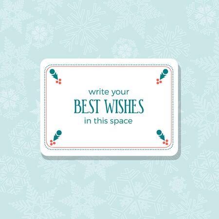 Inserisci i migliori auguri in una cornice vuota. Buon Natale e Felice Anno nuovo. Copertina di saluto, invito o menu. Sfondo vettoriale Vettoriali