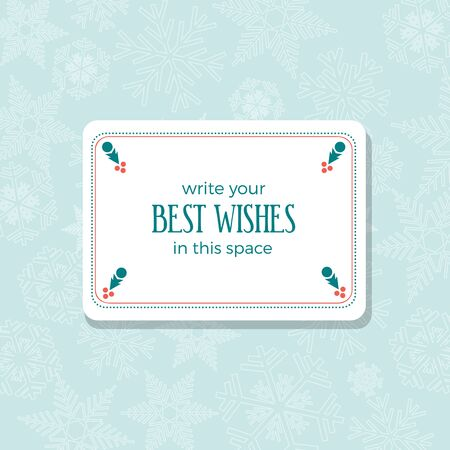 Insert best wishes in empty frame. Merry Christmas and Happy New Year. Greeting, Invitation or Menu cover. Vector background
