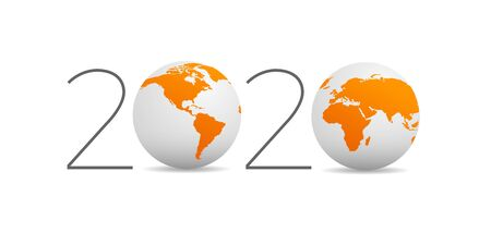 2020, happy new year. Vector creative number with globe, planet earth in orange