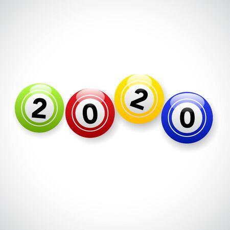 2020, happy new year. Vector creative number with bingo ball