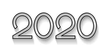 Creative text 2020 in flat design Illusztráció