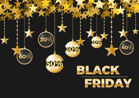 Black friday sale on background with star. Limited time only. Template for a banner, shopping, discount. Vector illustration for your design