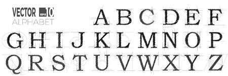 Set of font and alphabet, vector of modern abstract letters made with pen. Illustration
