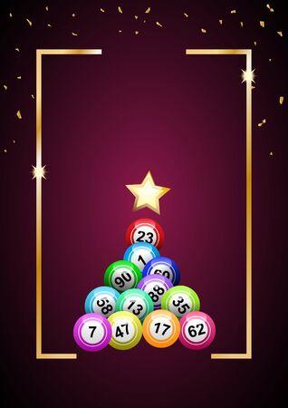 Vector christmas tree with balls of  bingo on purple background