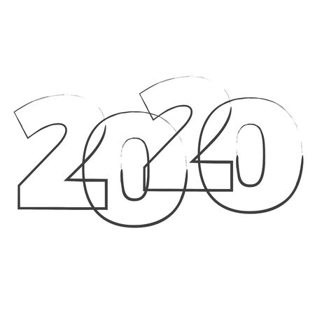 Abstract new year 2020, vector creative text scrawled in pen Иллюстрация