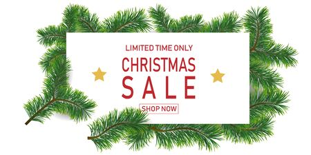 Christmas holiday sale with fir branches. Limited time only. Template for a banner, shopping, discount. Vector illustration for your design Reklamní fotografie - 131934121