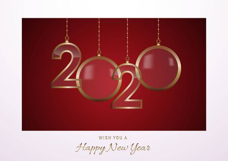 2020 Happy New Year celebrate card with holiday greetings, vector golden hanging text, red background with snow   イラスト・ベクター素材