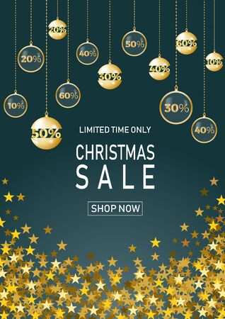 Christmas holiday sale on blue background with star. Limited time only. Template for a banner, shopping, discount. Vector illustration for your design Banco de Imagens - 131309361
